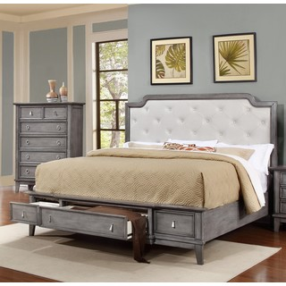 Lyke Home Stassi Grey Finish Faux Leather/Pine/Weed/Veener Bed