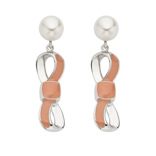Pearlyta Sterling Silver 7 to 8-millimeter Freshwater Pearl and Enamel Bow Dangle Earrings