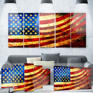 Designart 'God Bless America Flag' Metal Wall Art