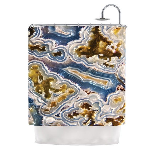 Shop KESS InHouse Original Gold And Blue Agate Shower Curtain 69x70