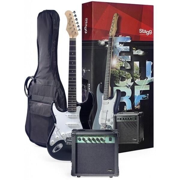 Stagg ESURF 250LHBKUS Surfstar Black Left-handed Electric Guitar and Amplifier Package