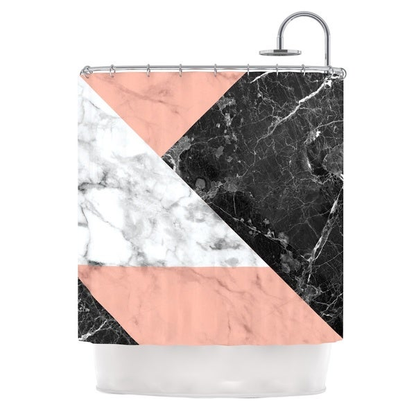 KESS InHouse KESS Original 'Geo Marble and Coral' Shower Curtain (69x70)