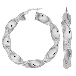 Argento Italia Rhodium Plated Sterling Silver 6x30-mm Twisted Round Hoop Earrings