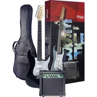 Stagg Surfstar Black Electric Guitar and Amplifier Package https://ak1.ostkcdn.com/images/products/12098133/P18961369.jpg?impolicy=medium