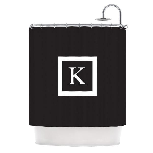 KESS InHouse KESS Original 'Monogram Solid Black' Shower Curtain (69x70)