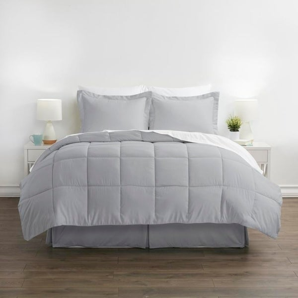 Sweet Home Collection 8 Piece Bed in A Bag with Dobby Stripe Comforter and Sham Set King Sage Bed Skirt Sheet Set