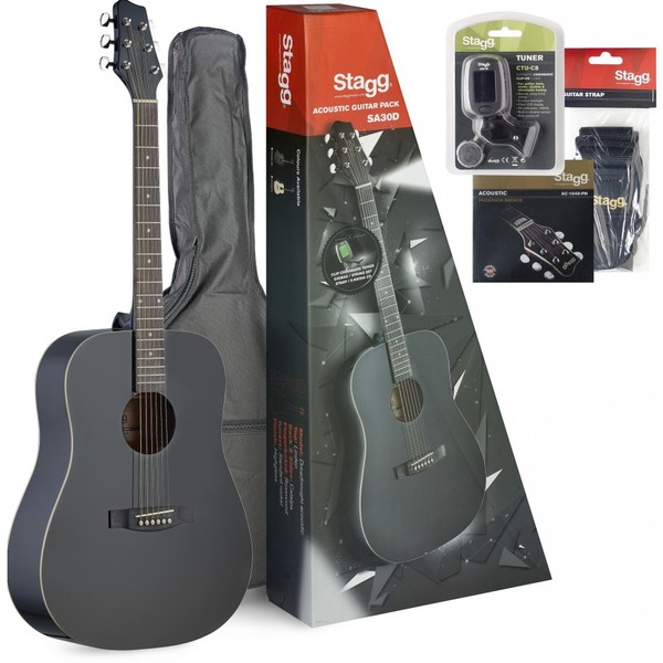 Stagg Dreadnought Black Acoustic Guitar Pack with Accessories and CD-ROM Lessons
