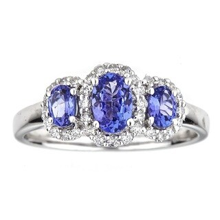 Anika and August 14k White Gold Oval-cut Tanzanite and Diamond Ring