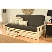 Somette Beli Mont Futon with Antique White Frame, Linen Mattress and Storage Drawers