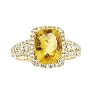 Anika and August 14k Yellow Gold Cushion-cut Beryl and Diamond Ring