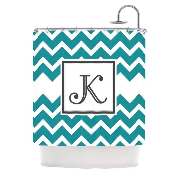 KESS InHouse KESS Original 'Monogram Chevron Teal' Shower Curtain (69x70)