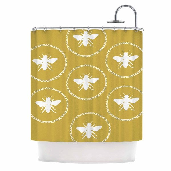 KESS InHouse Jennifer Rizzo 'Busy As A Bee Maise Gold' Shower Curtain (69x70)