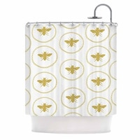 KESS InHouse Jennifer Rizzo Busy As A Bee White And Maize Shower Curtain
