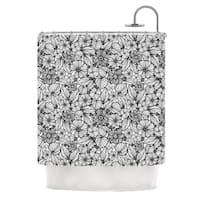 KESS InHouse Julia Grifol 'Candy Flowers In Black' Shower Curtain (69x70)