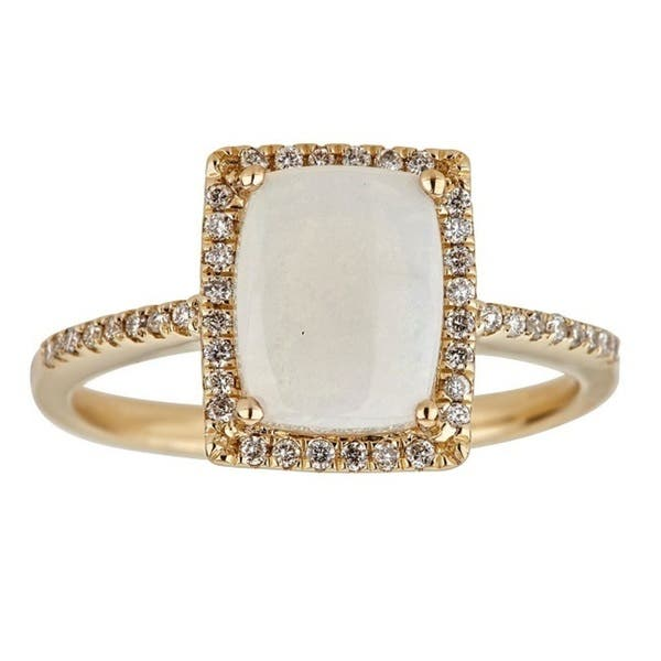 Shop Anika And August 14k Yellow Gold Cushion Cut Australian Opal And Diamond Ring Overstock 12098217