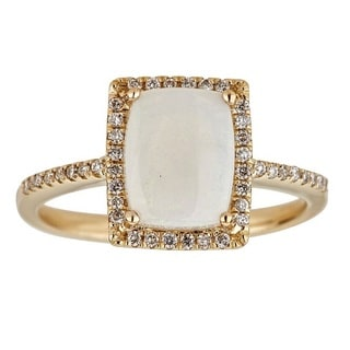 Anika and August 14k Yellow Gold Cushion-cut Australian Opal and Diamond Ring