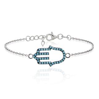 Glitzy Rocks Sterling Silver Nano Simulated Turquoise Hamsa Hand Bracelet