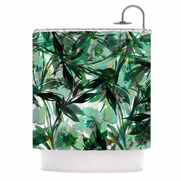 KESS InHouse Ebi Emporium 'Floral Fiesta Green' Shower Curtain (69x70)