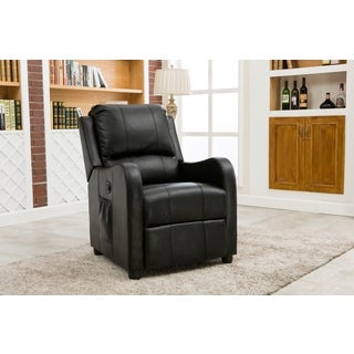 Lyke Home Acadia Black/Brown Bonded Leather Power Recliner