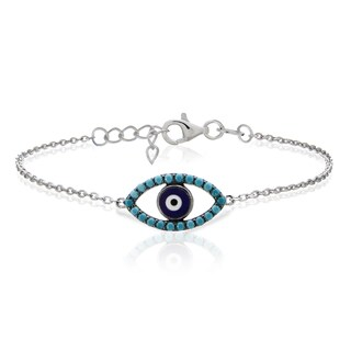 Glitzy Rocks Sterling Silver Nano Simulated Turquoise Evil Eye Bracelet