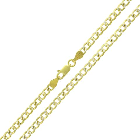 14K Yellow Gold Over Silver 3.5MM Cuban Curb Link Diamond-Cut Pave Two-Tone .925 ITProLux Necklace Chain, Made in Italy