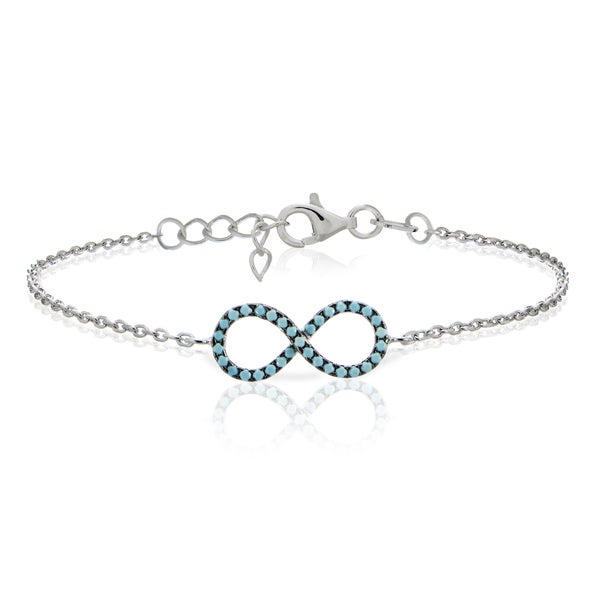 Glitzy Rocks Sterling Silver Nano Simulated Turquoise Infinity Bracelet. Opens flyout.