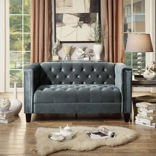 Moser Bay Furniture Rosemary Blue/Beige/Brown Polyester/Wool/Velvet Upholstered Tuft Loveseat