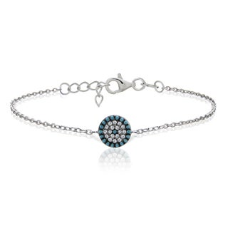 Glitzy Rocks Sterling Silver Nano Simulated Turquoise and Cubic Zirconia Circle Bracelet
