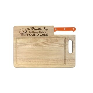 "Ginsu Custom Gift Collection ""Muffin Top/Pound Cake"" Engraved Cutting Board with Orange Santoku Knife"