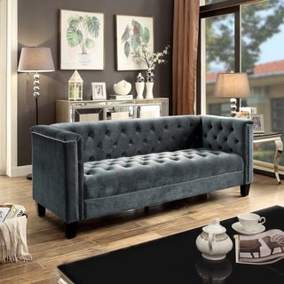 Moser Bay Furniture Rosemary Blue and Beige Upholstered Tuft Sofa