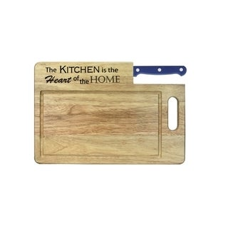 """Ginsu Custom Gift Collection """"Kitchen is the Heart of the Home"""" Engraved Cutting Board with Blue Santoku Knife"""