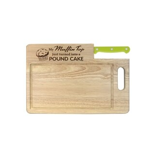 """Ginsu Custom Gift Collection """"Muffin Top/Pound Cake"""" Engraved Cutting Board with Lime Green Santoku Knife"""