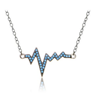 Glitzy Rocks Sterling Silver Nano Simulated Turquoise Heart Beat Necklace