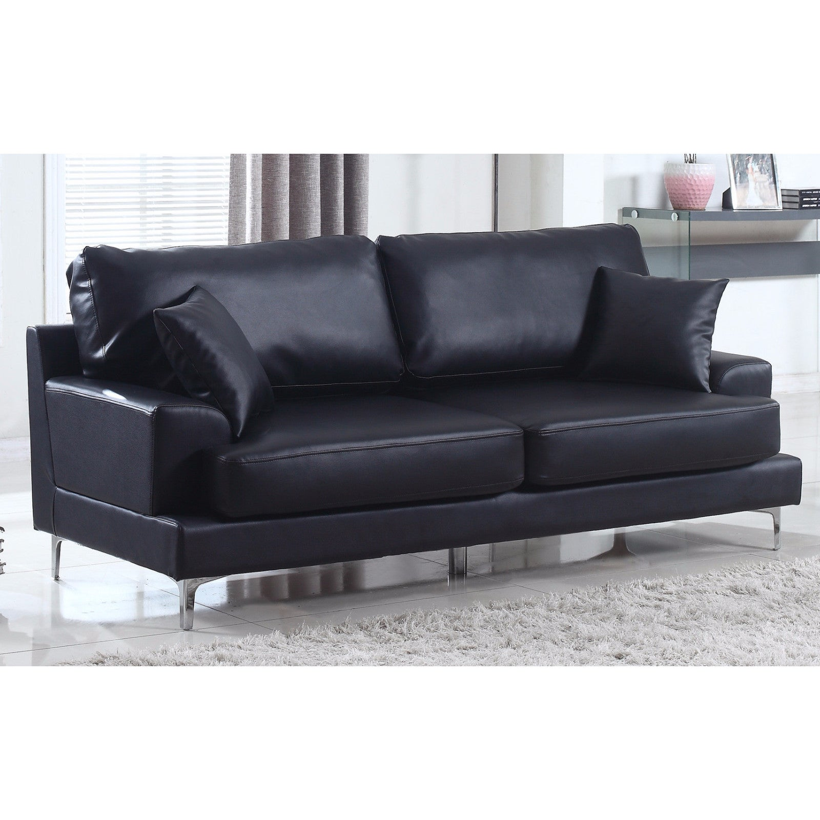 Ultra Modern Plush Bonded Leather Living Room Sofa With Chrome Leg Detail