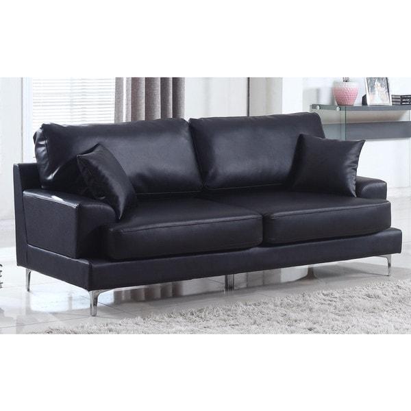 Ultra Modern Plush Bonded Leather Living Room Sofa with Chrome Leg Detail