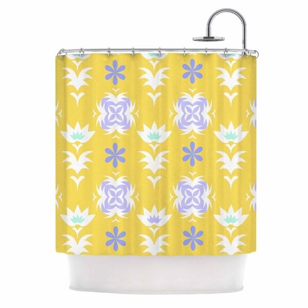 "Kess InHouse Alison Coxon ""Edwardian Tile Yellow"" Yellow WhiteShower Curtain, 69"" x 70"""