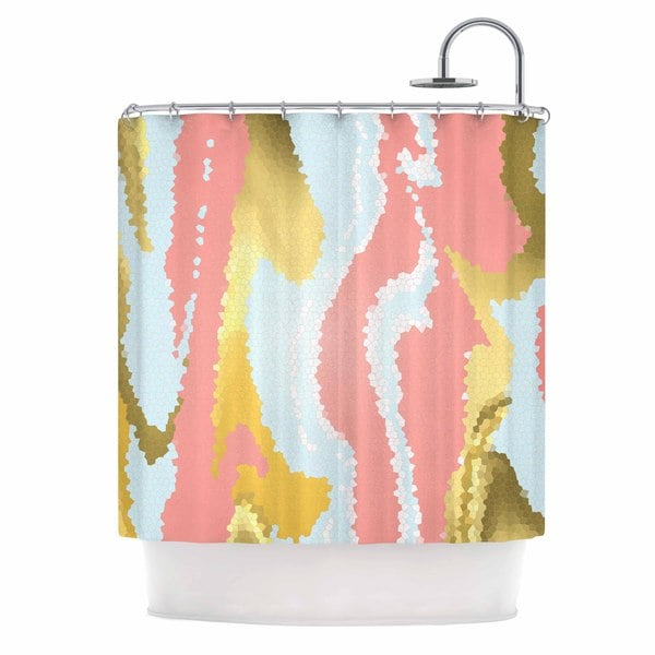"Kess InHouse Alison Coxon ""Modern Mosaic"" Gold AbstractShower Curtain, 69"" x 70"""