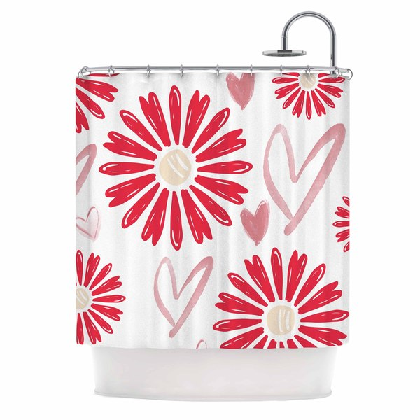 "Kess InHouse Alison Coxon ""Hearts And Flowers"" Love PinkShower Curtain, 69"" x 70"""