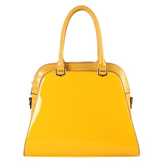 Diophy Women's Yellow Faux Leather Patent Tote Handbag