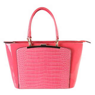 Diophy Women's Red Faux Leather Patent Tote Handbag
