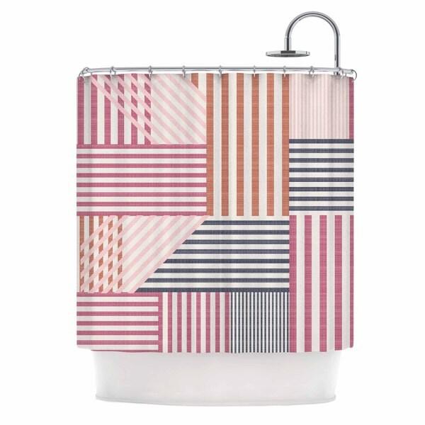 "Kess InHouse Pellerina Design ""Mod Linework"" Magenta GeometricShower Curtain, 69"" x 70"""