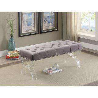 Meridian Ava Grey Velvet Bench