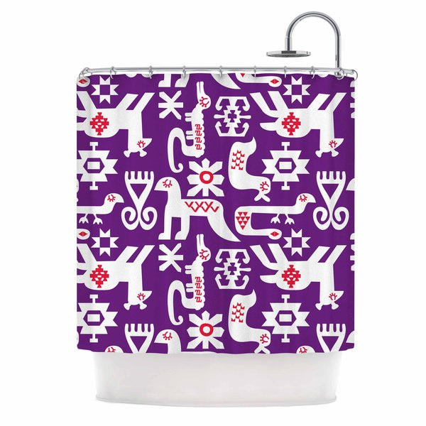 "Kess InHouse Agnes Schugardt ""The Tribe"" Purple TribeShower Curtain, 69"" x 70"""