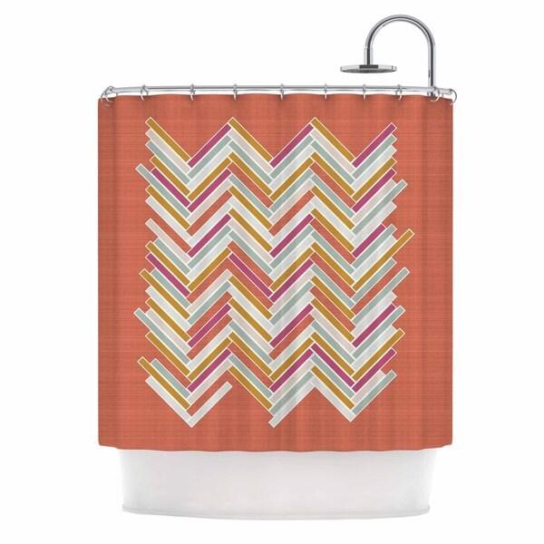"Kess InHouse Pellerina Design ""Herringbone Weave Bold"" Orange VectorShower Curtain, 69"" x 70"""