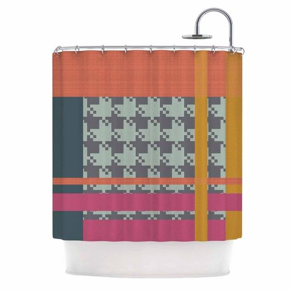 """Kess InHouse Pellerina Design """"Houndstooth Color Block"""" Multicolor ContemporaryShower Curtain, 69"""" x 70"""""""