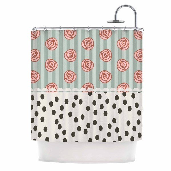"Kess InHouse Pellerina Design ""Mismatch Romantic"" Polkadot FloralShower Curtain, 69"" x 70"""