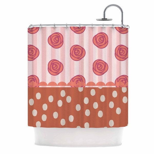 "Kess InHouse Pellerina Design ""Mismatch Bohemain"" Coral FloralShower Curtain, 69"" x 70"""