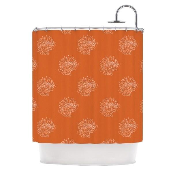 "Kess InHouse Anneline Sophia ""Simpley Protea"" OrangeShower Curtain, 69"" x 70"""