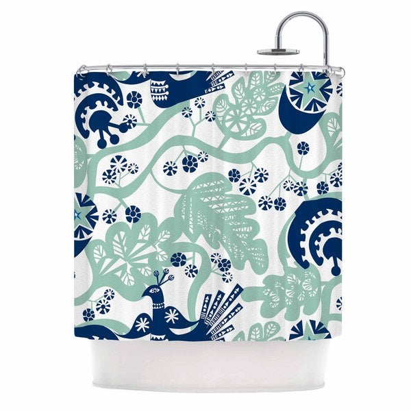 "Kess InHouse Agnes Schugardt ""Folk Birds"" White VectorShower Curtain, 69"" x 70"""