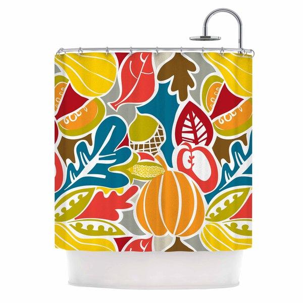 "Kess InHouse Agnes Schugardt ""Fall Harvest"" Multicolor FoodShower Curtain, 69"" x 70"""